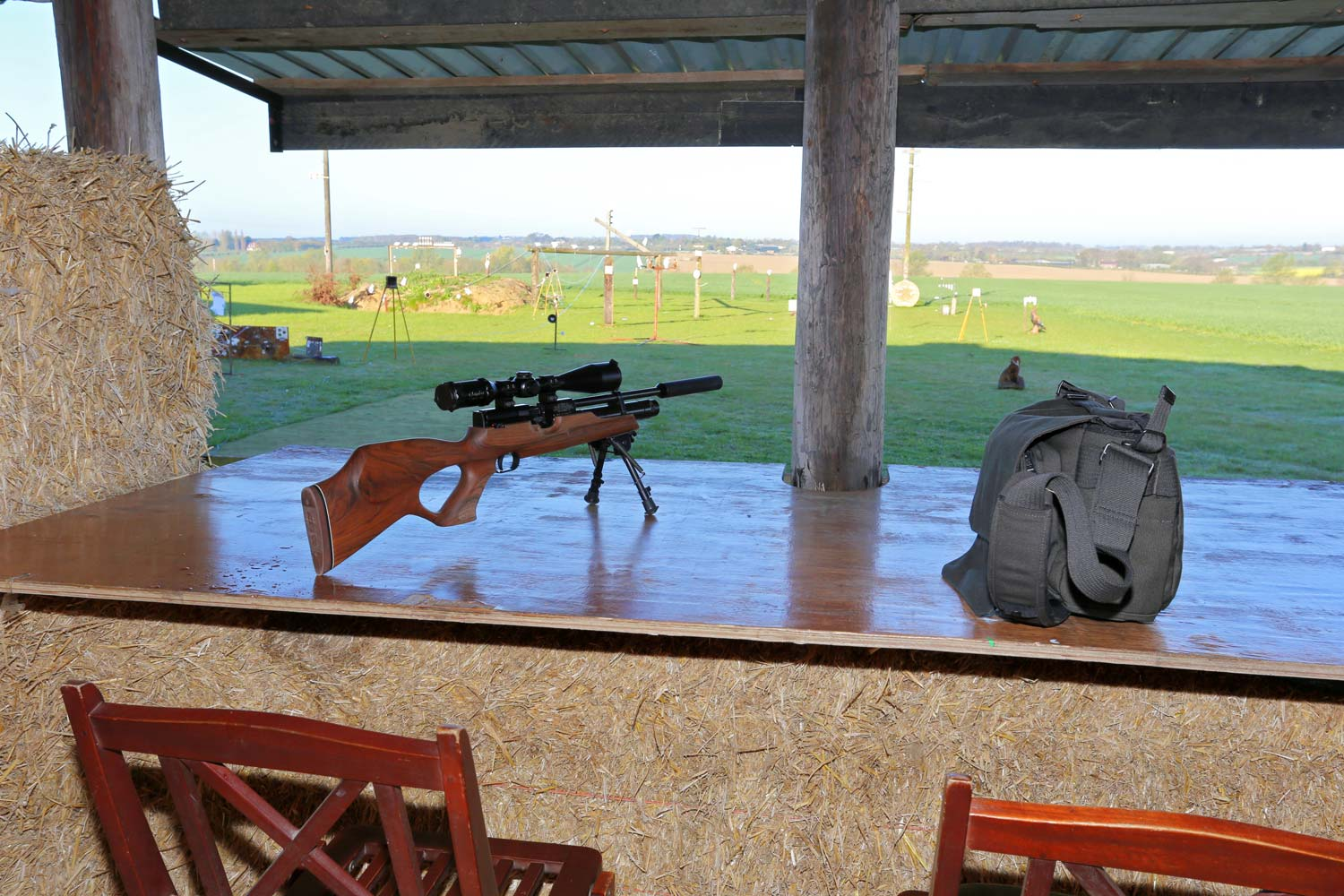 The Outdoor shooting range with covered positions