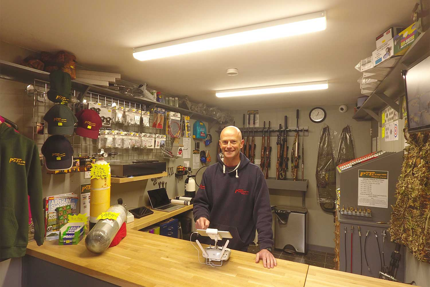 Pete in the shop. Looking cheerful!